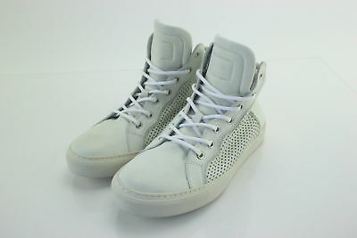 NWT $590 Pierre Balmain Off-White Perforated Leather Hightop Sneakers Size 8