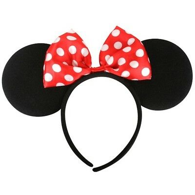 Minnie Mouse Ears With Red Polka Dot Bow Deluxe Headband