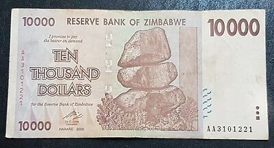 Zimbabwe 2008 Series ☆First Release☆ P72, $10,000 Dollar Banknote, AA Prefix