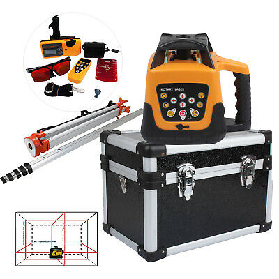 500m Automatic Self-Leveling Rotary Rotating Red Laser Level Kit Tripod + Staff