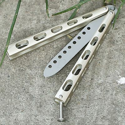 Champagne Metal Steel Practice BALISONG BUTTERFLY Trainer Training Dull Tool NEW