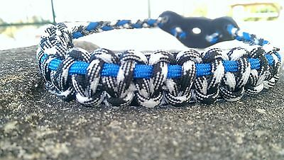 Archery Bow Sling 550 Paracord Black white & sky blue  + 3 zipper pulls