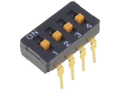 A6D-4103 Switch DIP-SWITCH Poles number4 ON-OFF 0.03A/30VDC -20÷70°C OMRON