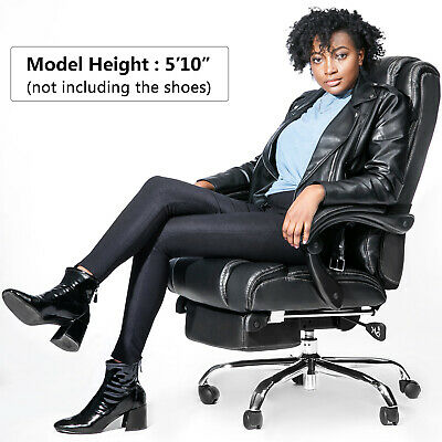 Merax Technical Leather High Back Office Chair Big Tall Executive Recliner Nap