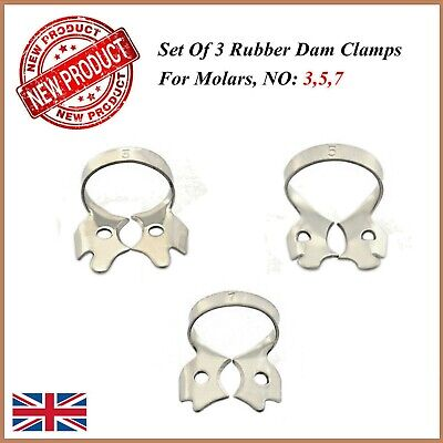 set Of 3 Rubber Dam Clams For Molars Dental Endodontic Restorative Placement New