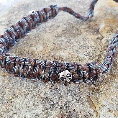 Archery Bow Sling 550 Paracord  Brown gray camo  + 3 zipper pulls
