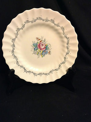 Royal Doulton Chelsea Rose Bread and Butter Plate, Floral Center, Grey Scrole