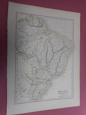 100% Original Large Brazil Map By Black C1880/s Vgc Low Postage
