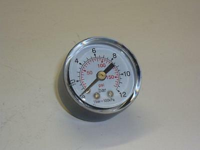 """Manometer Compressed Air Dn 40 Junction Rear Male 1/8 """" 0-12bar 0-150psi"""