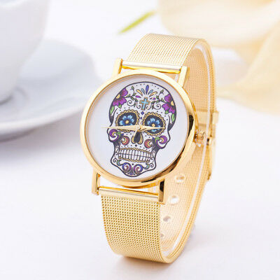 Ladies Stainless Steel Gold Skull Quartz Wrist Watch Bracelet Watches Luxury