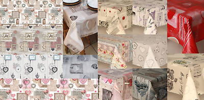 Luxury Traditional Hearts Pvc Wipe Oil Vinyl Table Cloths Party Plain Multi Pink