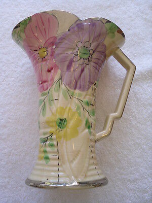 Arthur Wood - 1930's Art Deco - Hand Painted Floral Vase with Silver Gilt