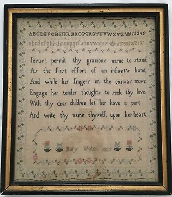 Antique Needlework Sampler, English, 1809