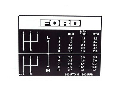 Gear Change Decal Fits Ford 2000 3000 2600 3600 Tractors.