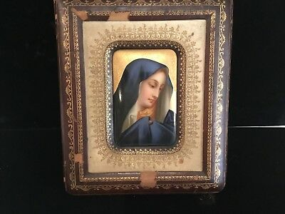 Antique Italian Handpainted Madonna In Leather Frame Porcelian Plaque No Res