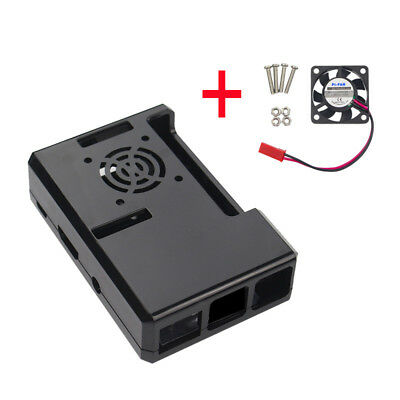 Black ABS Case With Fan Hole + CPU Cooling Fan For Raspberry Pi 3/2