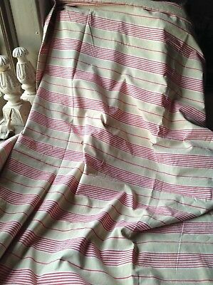 19C French Ticking Mattress Fabric Red White & Cream Decorative Textile Projects