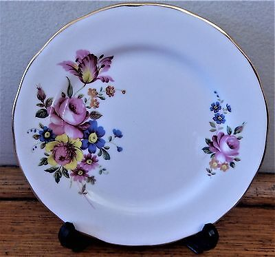 ROYAL KENT Staffordshire China CAKE Sandwich Side PLATE Pink Yellow Blue Floral