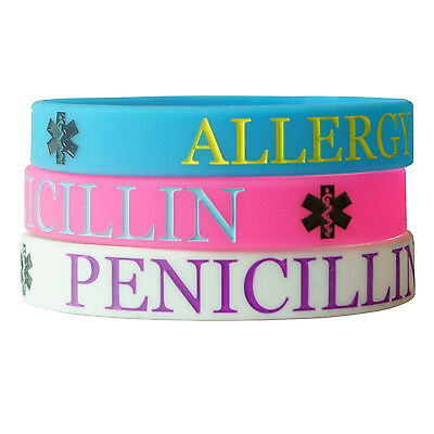 PENICILLIN ALLERGY MEDICAL wristband silicone bracelet child size AWARENESS