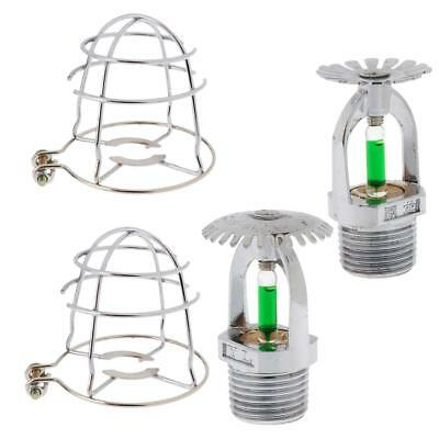 Set 4pcs Quick Response Brass Pendant & Upright Sprinkler Head & Guard Cover