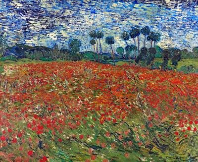 Poppy Field Painting by Vincent van Gogh Art Reproduction