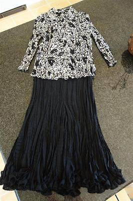 Rene Designer Skirt/top Outfit,black/white,occasion,mother Of Bride,m,10/12,$259