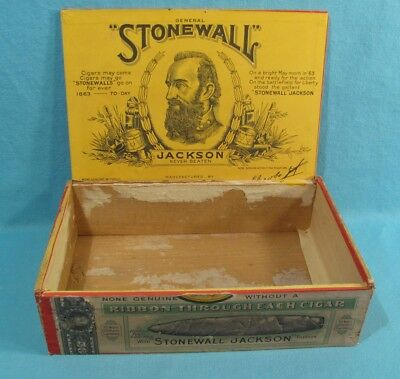 CONFEDERATE CIVIL WAR - Stonewall Jackson - Wooden Cigar Box with Label - Jacobs