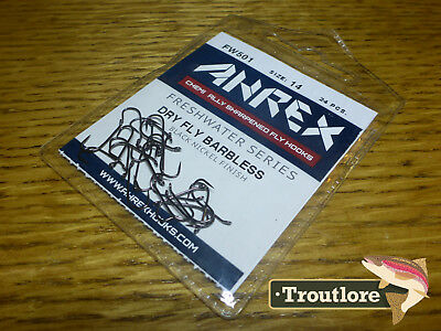 24 x AHREX FW501 #14 BARBLESS FRESHWATER TRADITIONAL DRY FLY HOOKS NEW TYING