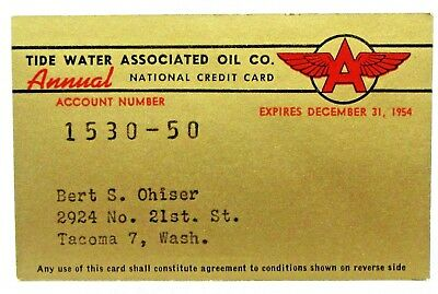1954 TIDEWATER OIL FLYING A gasoline credit card *