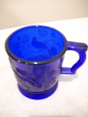 Mosser Cobalt Blue Glass Mug Robin In Tree Signed