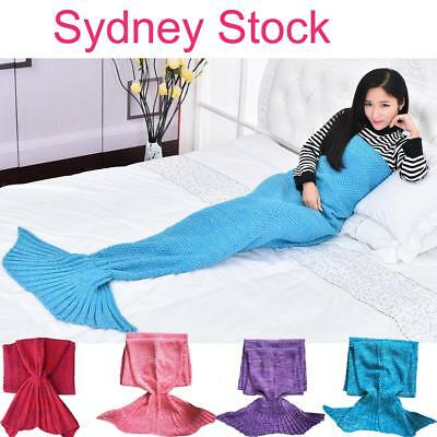 Scaled Mermaid Tail Blanket Crochet Knitting Colour Mixed Super Soft Adults AU