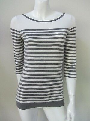 ESPRIT sz S/8-10 lightweight fine knit grey/white striped cotton jumper AS NEW