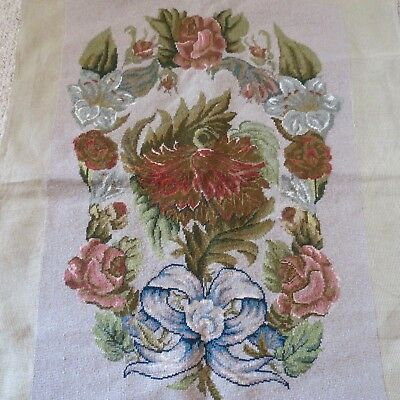 Large hand stitched tapestry with roses and bow complete ready to frame