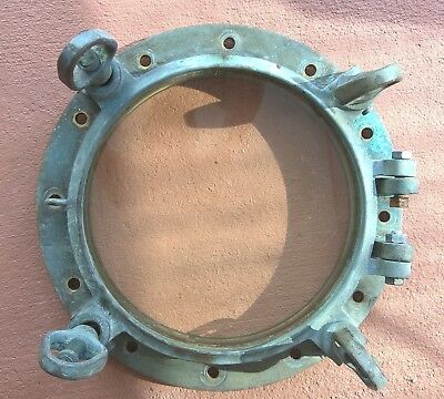 "Porthole - Vintage Bronze & Glass , WWII Era, 16.5"" to 24"",  with 4 dog ears"