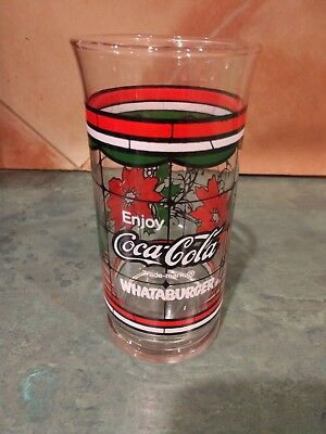 Whataburger Coca Cola Christmas Holiday Poinsettia Glass