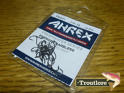 24 x AHREX FW521 #14 BARBLESS FRESHWATER EMERGER FLY HOOKS NEW TYING MATERIALS