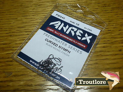 24 x AHREX FW540 #16 FRESHWATER CURVED NYMPH HOOKS NEW FLY TYING HOOK SUPPLIES