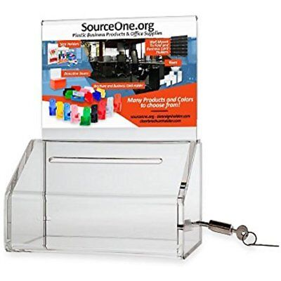 Source One Heavy Duty Donation / Ballot Box With Lock And Sign Holder (1 Pack, -