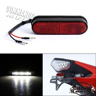 Integrated 3 LED Tail License Plate Lights White Lamp Color With Red Reflector
