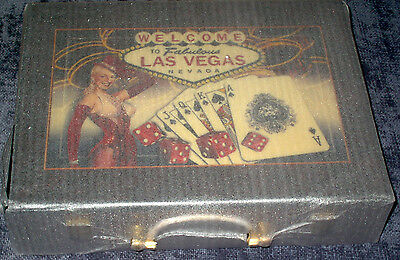 Las Vegas Sign Hi-Gloss Wood Box Poker Chip Set, 300 Ct. (New in Box w/Tags)