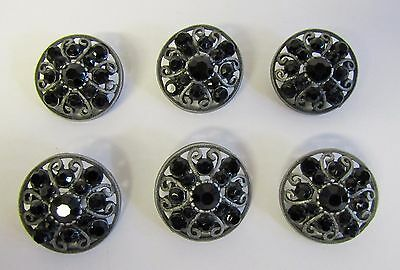 "* Vintage * 6 Smoke Glass Rhinestone Buttons * Unique Filigree * 7/8"" Diameter *"