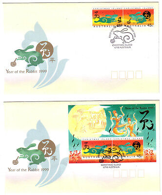 "1999 FDC x 2. Christmas Island. Year of the Rabbit. Pict.PMK ""CHRISTMAS ISLAND"""