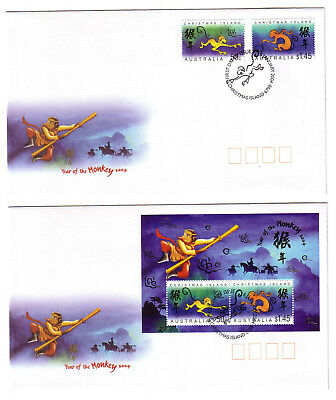"2004 FDC x 2. Christmas Island. Year of the Monkey. Pict.PMK ""CHRISTMAS ISLAND"""