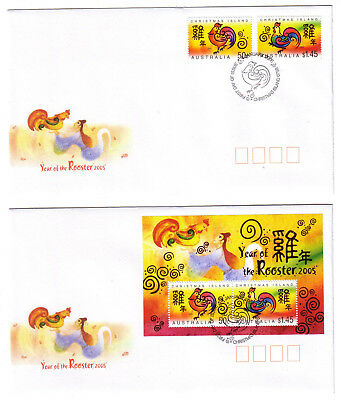 "2005 FDC x 2. Christmas Island. Year of the Rooster. Pict.PMK ""CHRISTMAS ISLAND"""
