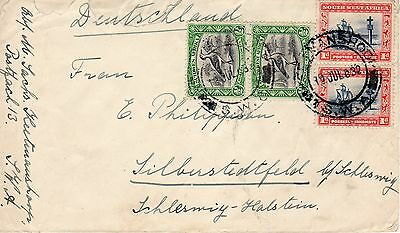 S.W,A. South West Africa-Schleswig 1932 cover. With pairs of Sailing ship, Bird