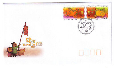 "2007 FDC Christmas Island. Year of the Pig. Pict.PMK ""CHRISTMAS ISLAND"""