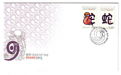 "2013 FDC. Christmas Island. Year of the Snake. Pict.PMK ""CHRISTMAS ISLAND"" ."