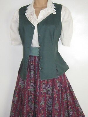 Laura Ashley Vintage Country Pine Linen Fitted Waistcoat / Vest / Summer Top, 14