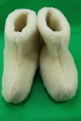 100/% NATURAL SHEEP WOOL COZY SLIPPERS BOOTS WOMENS//MENS NON SLIP SOLE SIZE 3-8