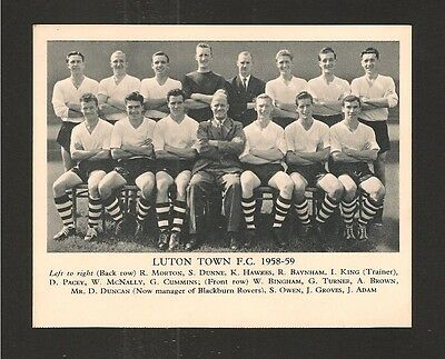 LUTON TOWN FC 1958/9 Team Photo The Hatters  PLAYERS NAMED Manager & Trainer